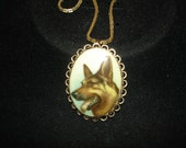 German Shepard Gold Tone necklace