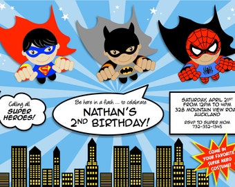 Super Heroes party printable PERSONALIZED invitation with Flying Super Hero Boys - Superman, Batman, Spiderman