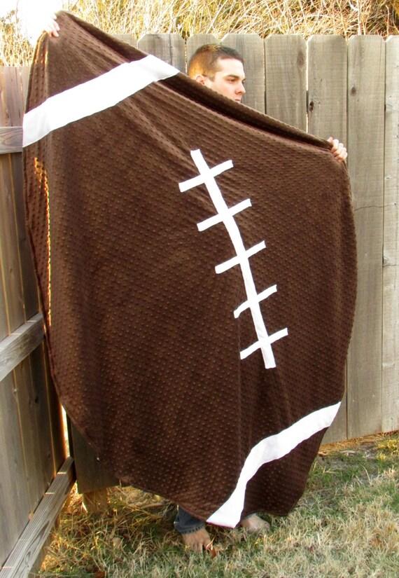 Adult Kansas University Football Minky Blanket Ku Man
