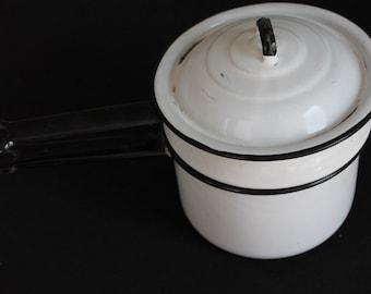 Vintage White & Black Enamelware Double Boiler Pots Lids Handles