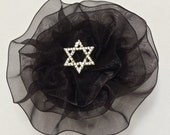 Star of David Kippah, Black Jewish Star Yarmulke, Black Kippot