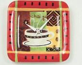 Whimsical Wall Clock, Upcycled Mocha Java Plate, Geekery, Clocks by DanO