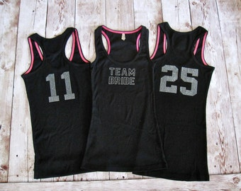 3 Bridesmaid Number Jersey Tank Top. Bridal Party Shirts. Bachelorette Party Custom Rhinestone Shirts. Bridal Shower Gift. Bride Shirt