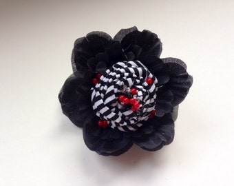 Red, Black & White hair clip