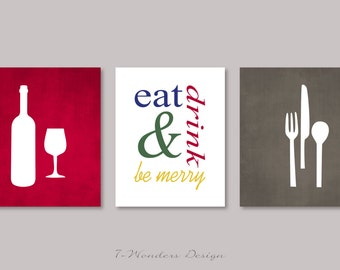 Modern Kitchen Art Print Set, Eat Drink and Be Merry - Set of (3)  Prints - Burgundy, Grey, Multi // Modern Kitchen