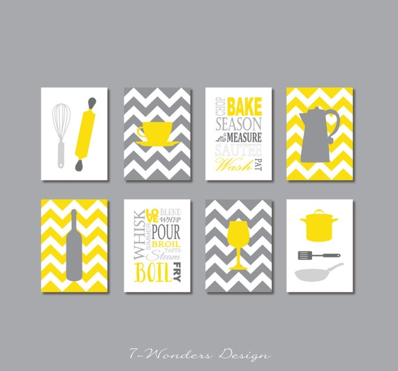 Yellow Kitchen Art: Kitchen Art Prints Utensils Appliances Typography Coffee
