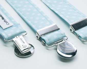 Suspenders - Blue with White Polka Dots Adjustable Suspenders