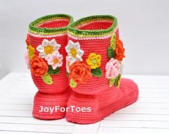 Women's Crochet Slipper Boots Crochet Slippers Crochet Booties Crochet House Shoes Crochet Summer Boots Crochet Floral Boots Home Slippers