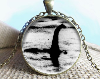 Lochness Image Pendant/Necklace Jewelry, Fine Art Necklace Jewelry, Lochness Monster Photo Jewelry Glass Pendant Gift