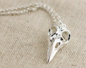 Sterling Bird Skull necklace, sterling silver, simple, necklace, bird jewelry, skull jewelry