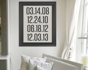 Subway Style Custom Special Dates Art Print //  Vintage Style Personalized Important Dates Wall Art Poster // Custom Valentines Day Gift