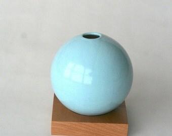 blue vase, ceramic and wood vase, Ceramic Vase, Flower Vase, Bud Vase, Pottery Vase, Modern, Mother's Days Gift, Wedding Gift, small vase