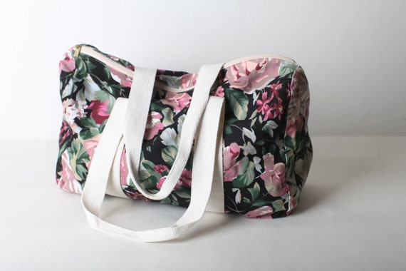 Vintage Floral Duffle Bag Overnight Bag Carry On By Doubleprints