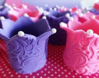 12 Fondant edible 3D princess crown cupcake toppers, fondant crown, fondant tiara, edible crown, princess party, fairy, crown cake topper