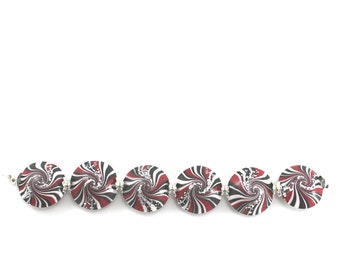 swirl lentil beads in black white and red with tiny silver dots, elegant beads Set of 6