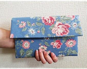 Bridesmaids large envelope clutch blue rose purse Cath Kidston cotton canvas evening purse
