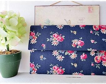 Bridesmaids large envelope clutch red rose navy blue evening purse Cath Kidston cotton canvas