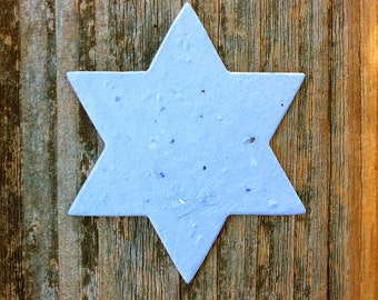 "20 Star of David Plantable Seeded Paper Shape 2.5"" x 3"" DIY Favors, 39 Colors Available"