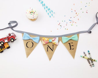 Boy 1st birthday high chair banner. Bow tie birthday high chair banner. Bow tie 1st birthday party decor. Vintage style 1st birthday party.