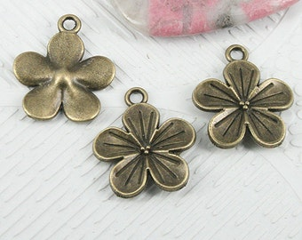 20pcs antiqued bronze color 18.7mm flower charms EF0864