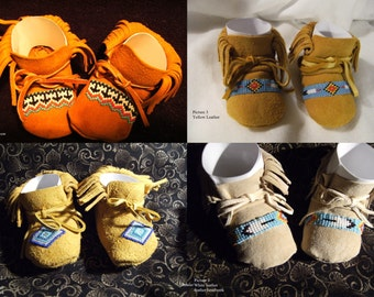 3-6 month -  Made To Order Baby Moccasins With Beadwork