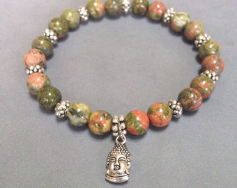 Buddha charm bracelet, green bracelet, stacking bracelet, stretch bracelet, zen jewelry, beaded bracelet