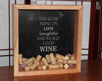 "Cherry Wine Cork Shadow Box ""Home"""