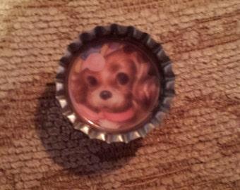Vintage puppy bottlecap magnet