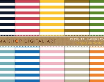Digital Paper 'Stripes on White' Black, Red, Yellow, Brown, Green, Blue, Pink, Orange... Stripes Patterned Scrapbook Paper