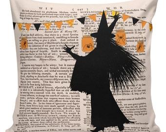 Cushion Pillow Halloween Dictionary Print Gift Cotton and Burlap #HA0079 Elliott Heath Designs