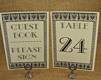 Table Number Holders - Stainless Steel Sign Holders - 12 Pieces
