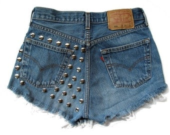 "ALL SIZES ""Studded Paradise"" High waist shorts"