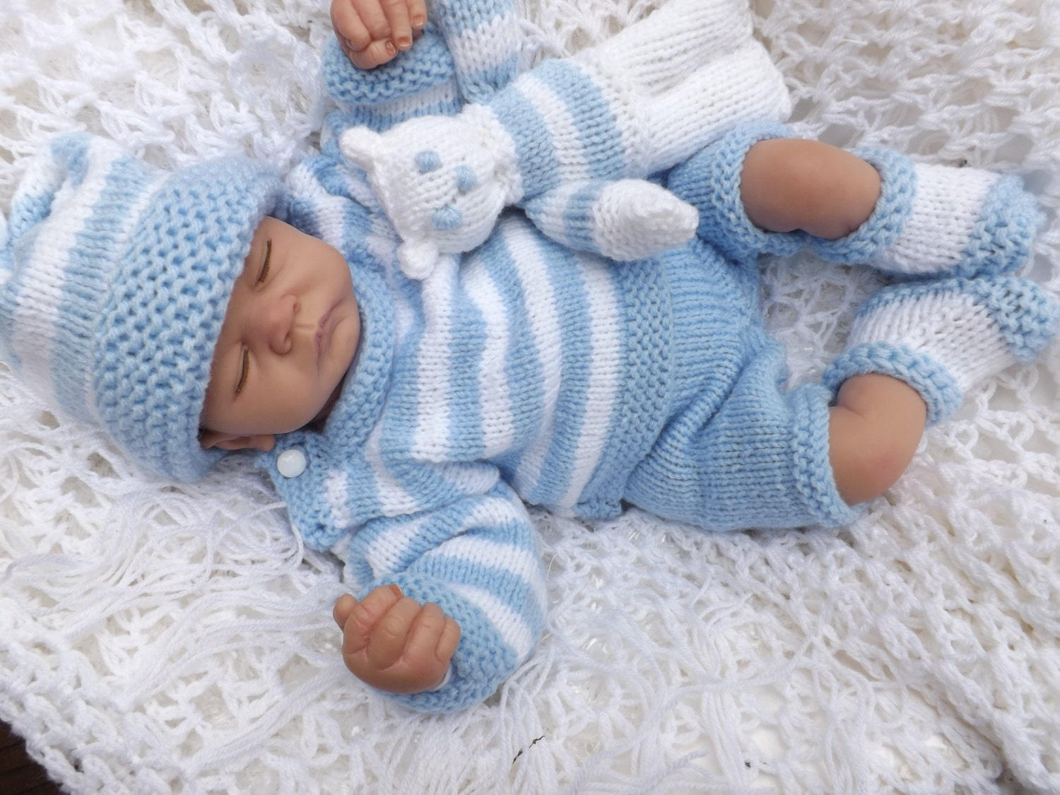 Knitting Pattern Striped Sweater : baby knitting pattern striped sweater pants hat booties and