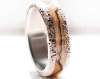Mens Wedding Band Spalted Maple and Antler Ring