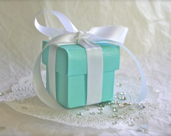 Robins Egg Blue Favor Boxes BULK with Luxury Satin Ribbon