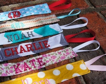 Monogrammed Pacifier Clip, Personalized Binky Holder, Great New Baby Gift!!