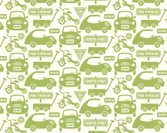 Cruiser Blvd. Cars in Green by Sheri McCulley for Riley Blake Designs by the Yard