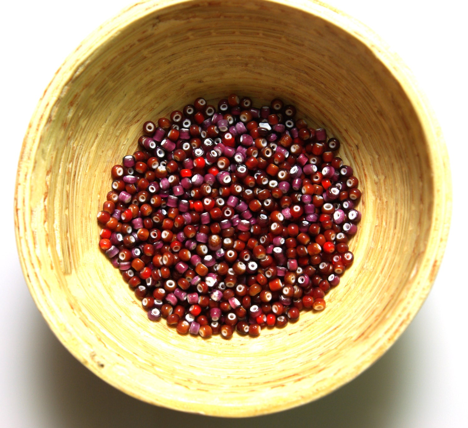 Vintage Venetian Cherry Red Mix White Heart Seed Beads