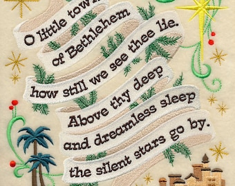 O Little Town of Bethlehem Medley - 100% Organic Cotton Pillow Cover - Your Choice of Size & Fabric Color