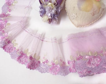 """DN553-4"""" Pink Embroidered Tulle Mesh Lace Trim by Yard"""
