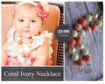 Baby Girl Coral Chunky Necklace Childrens Necklace Baby Bubblegum Necklace, Beaded Gumball Necklace Girls Photo Prop 1st Birthday Wedding