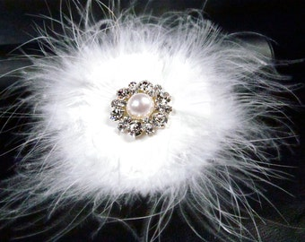 White Feather Rhinestone Pearl Bridal Hair Clip, Hair Accessory