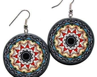 Grey pastel earrings, mandala decoupage earrings, bohemian earrings, round dangle earring, statement jewelry, multicolor gypsy earrings boho
