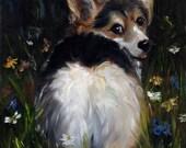 PRINT Pembroke Welsh Corgi Dog Art Oil Painting / Mary Sparrow wildflowers fluffy butt