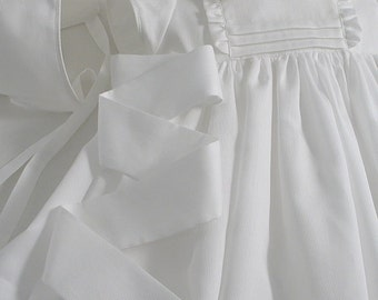 White Pique Cotton Dress and Bonnet