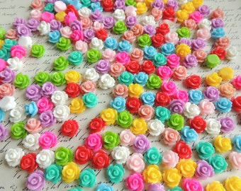 1000 resin flower cabochons mixed colors