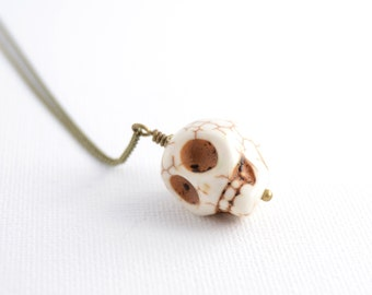 White skull necklace. Long bohemian chic layering necklaces