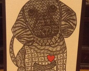Zentangle Inspired Dachshund Note Card, Dachshund Print,  Love Card