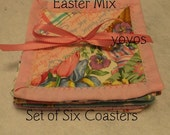 EASTER, COASTERS, Set of Six,  Pastel,  Holiday Decor, Home Décor,  Hostess Gift,  Table Decor,  Basket Filler,  Gifts for Women