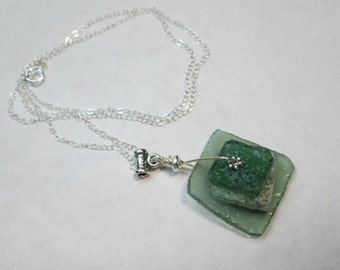 Sterling Silver and Stacked Glass Ancient Roman Glass Necklace